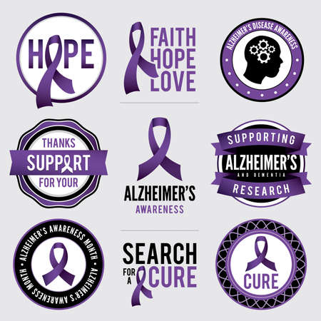 A set of Alzheimer\'s disease awareness badges and labels.  イラスト・ベクター素材