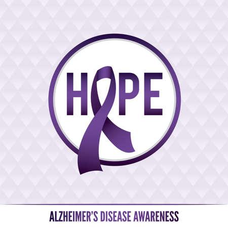 An Alzheimer\'s disease awareness badges and ribbon.
