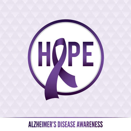 An Alzheimer\'s disease awareness badges and ribbon.