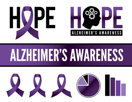 health care research: Alzheimers disease awareness icons, badges, and graphics.  Illustration
