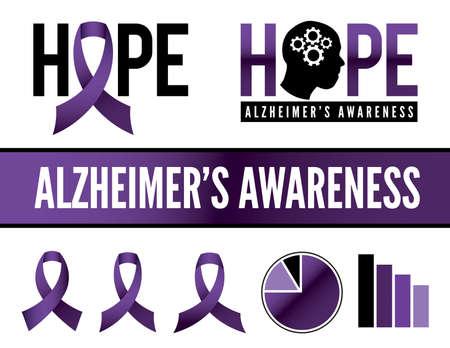 enfermedades mentales: Iconos Alzheimer  's enfermedad conciencia, insignias, y gráficos. Vectores