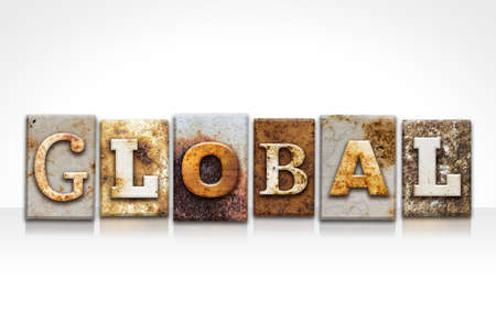 The word GLOBAL written in rusty metal letterpress type isolated on a white background. Stock fotó