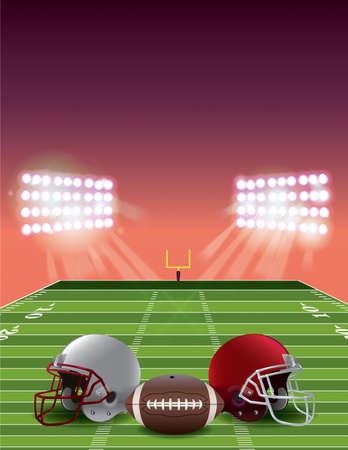 sideline: Un campo de estadio de f�tbol americano en la puesta del sol con cascos y un bal�n de f�tbol. Vector EPS 10 disponible. Archivo EPS contiene transparencias y malla de degradado.