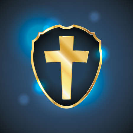 christian prayer: A shield or badge shape containing a gold colored Christian cross. Vector EPS 10 available. EPS contains transparencies.