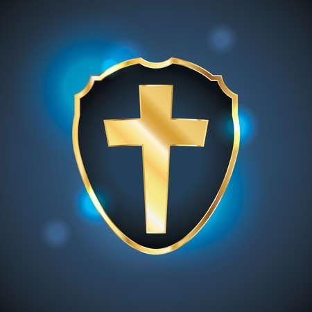 pasqua cristiana: Una forma a scudo o badge contenente una croce cristiana di colore oro. Vector EPS 10 disponibili. EPS contenente i lucidi. Vettoriali