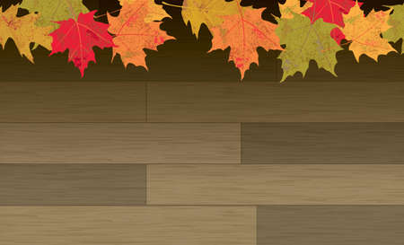 holiday background: Colorful autumn leaves on a hardwood plank background. Vector EPS 10 available.
