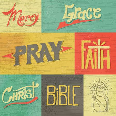 Un conjunto de imágenes de época dibujados a mano retro y palabras de la fe cristiana. Vector disponible. Archivo EPS es capas y contiene transparencias y una malla de degradado.