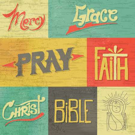 A set of vintage retro hand drawn images and words of Christian faith. Vector available. EPS file is layered and contains transparencies and a gradient mesh.