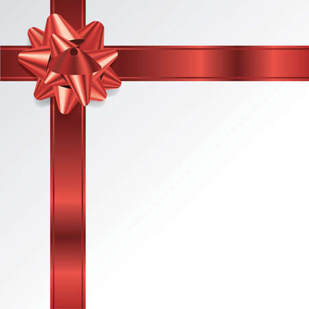 photo realism: A red Christmas holiday bow and ribbon on a white background. Room for copy. Vector EPS 10 available. EPS file contains transparencies and a gradient mesh.