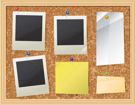 pin board: A realistic cork bulletin board with pinned pieces of paper and photos. Vector EPS 10 available. EPS contains transparencies. Illustration