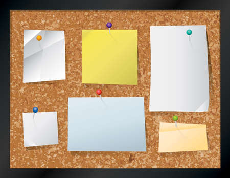 A realistic cork bulletin board with pinned pieces of paper. Vector EPS 10 available. EPS contains transparencies.