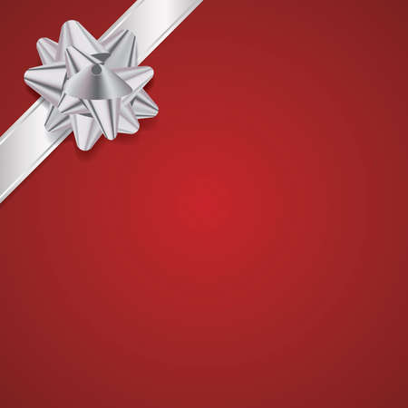 available: An illustration of a silver bow and ribbon on a red Christmas background. Vector EPS 10 available. EPS file contains transparencies and gradient mesh.