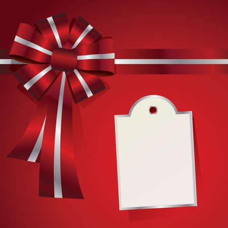 An illustration of a red background with a red and silver bow and a tag for a message. Vector EPS 10 available.