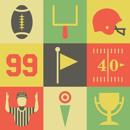 Eine flache Reihe von Vintage-American-Football-Icons und Grafiken. Vector verfügbar.