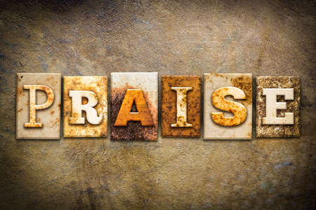 The word PRAISE written in rusty metal letterpress type on an old aged leather background. Stock Photo