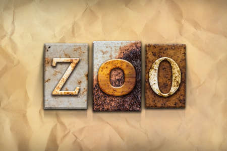 crumbled: The word ZOO written in rusty metal letterpress type on a crumbled aged paper background.