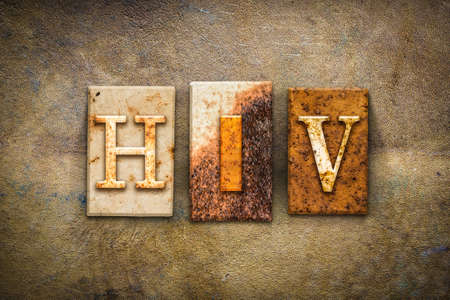 sexually transmitted disease: The word HIV  written in rusty metal letterpress type on an old aged leather background.