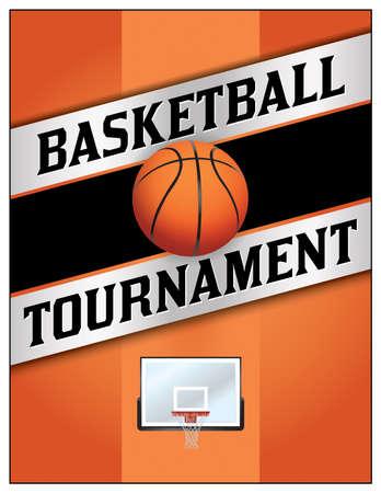 tourney: A flyer or poster illustration design for a basketball tournament.