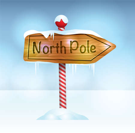 north: A Christmas illustration of a wooden sign in snow pointing to the North Pole.