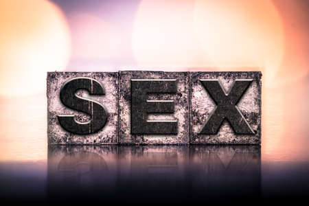 """sexual education: La palabra """"sexo"""", escrito en tinta tipo de cosecha tipografía manchado."""
