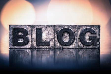 単語の「ブログ」ビンテージ インクで書かれて染色凸版タイプです。