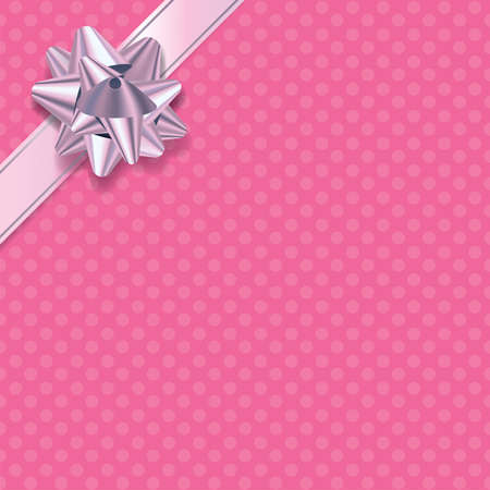 wrap wrapped: An illustration of pink polka dot paper present background with pink and silver ribbon and bow. Illustration
