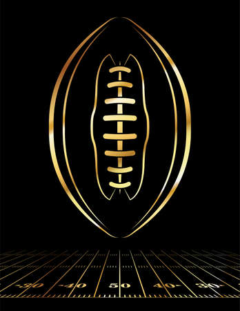 An icon of a gold colored American football over a football field illustration. Illustration