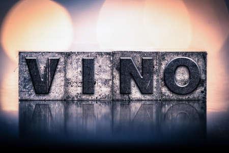 letterpress: The word WINE written in vintage ink stained letterpress type. Stock Photo