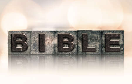 letterpress type: The word BIBLE written in vintage ink stained letterpress type. Stock Photo
