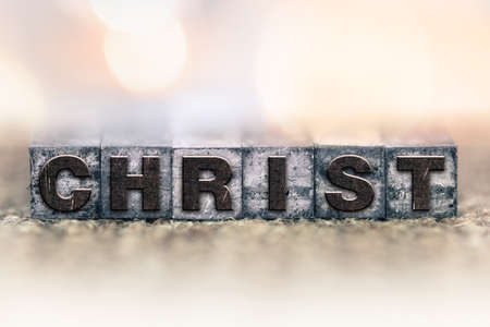 letterpress type: The word CHRIST written in vintage ink stained letterpress type. Stock Photo