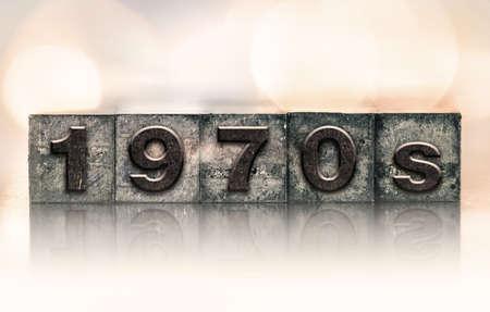 letterpress: The word 1970s written in vintage ink stained letterpress type.