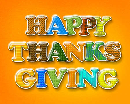 happy thanksgiving: Colorful shiny letters spell the words Happy Thanksgiving.