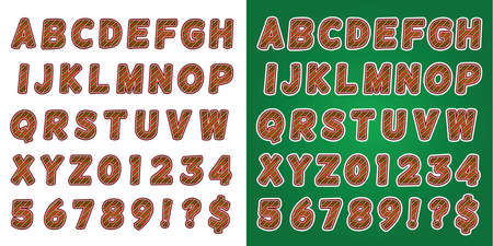candycane: A set of green, white, and red candy cane Christmas holiday alphabet letters and numbers. Vector EPS 10 available. Letters set on a white background and green background. Illustration