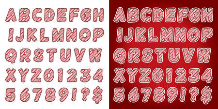 A set of candy cane Christmas holiday alphabet letters and numbers. Illustration