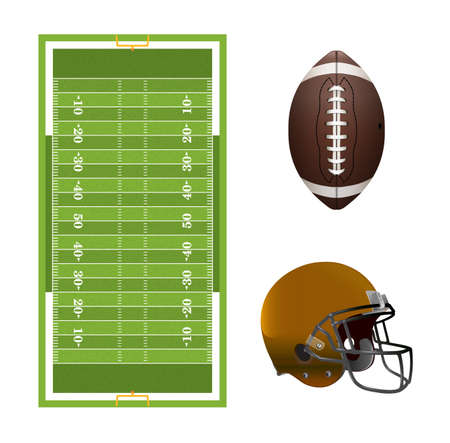 terrain football: Un ensemble d'éléments américains de football, champ, casque et ballon isolé sur blanc.