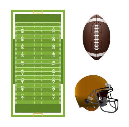 campo di calcio: Un insieme di elementi di football americano, di campo, casco e palla isolato su bianco. Vettoriali