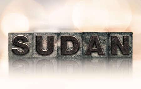 letterpress type: The word SUDAN written in vintage ink stained letterpress type. Stock Photo
