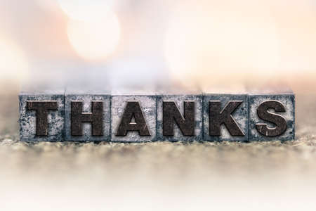 thankfulness: The word THANKS written in vintage ink stained letterpress type. Stock Photo