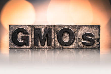 manipulated   alter: The word GMOs written in vintage ink stained letterpress type.