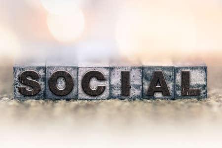 letterpress type: The word SOCIAL written in vintage ink stained letterpress type. Stock Photo