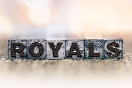 royals: The word ROYALS written in vintage ink stained letterpress type.