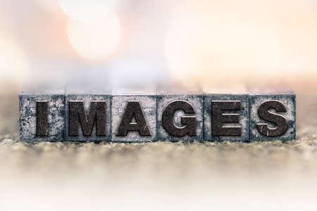 The word  written in vintage ink stained letterpress type. Zdjęcie Seryjne