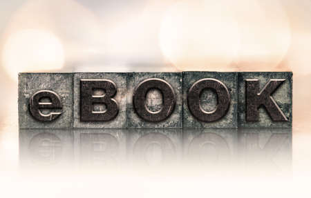 letterpress type: The word eBOOK written in vintage ink stained letterpress type.