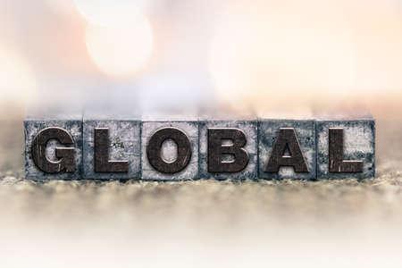 letterpress: The word GLOBAL written in vintage ink stained letterpress type. Stock Photo