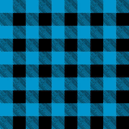 A flannel pattern illustration in blue and black. Pattern can be tiled seamlessly. Vector EPS 10 available.
