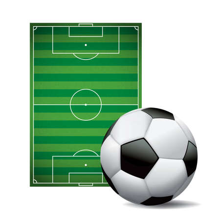 soccer field: A soccer ball football and field isolated on white illustration. Vector EPS 10 available. EPS file contains a gradient mesh.