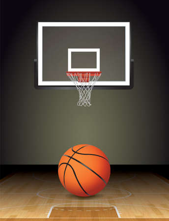 photo realism: An illustration of a basketball on a hardwood court with a basketball hoop. Vector EPS 10 available. EPS file contains transparencies and gradient mesh. EPS is layered.
