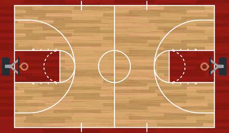 Een realistische hardhouten gestructureerde basketbalveld illustratie. EPS 10. File bevat transparanten. Stock Illustratie