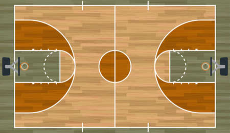 A realistic hardwood textured basketball court illustration. EPS 10. File contains transparencies. Stock Illustratie
