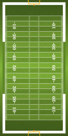 A vertical grass textured American football field illustration. EPS 10. File contains transparencies.  イラスト・ベクター素材